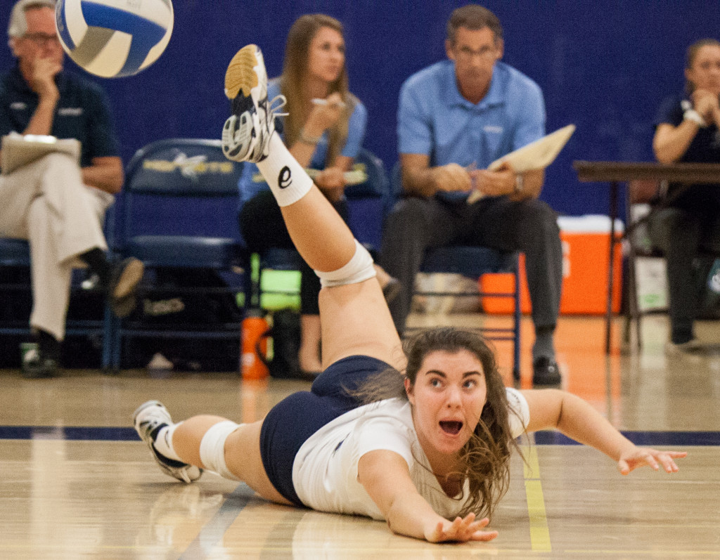 In the match of women's volleyball between Irvine Valley College and Fullerton College on Friday night at Fullerton College, guest team player Cozette try to save the last spike.